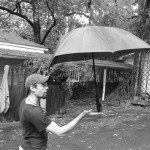 Balancing my umbrella.
