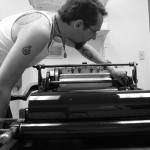 Working on the Vandercook.