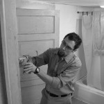 Caulking in the bathroom.